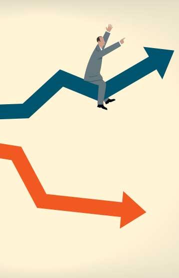 Man riding a rising chart
